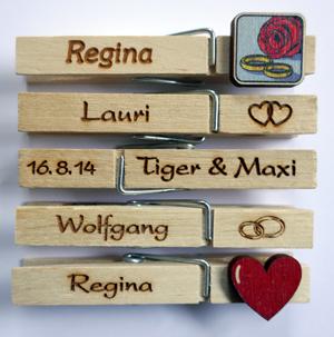 Gravierte Wäscheklammern aus Holz, Hochzeitsklammern, Hochzeit, Hochzeitsglubbal, Hochzeitsglupperl