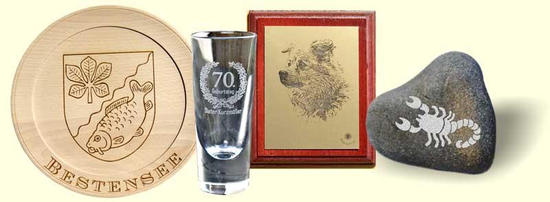 Holzgravur, Glasgravur, Metallgravur, Steingravur